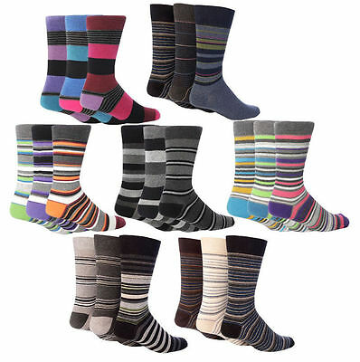 Giovanni Cassini - 6 Paires Hommes Marque Italien Luxe Rayures Coton Chaussettes