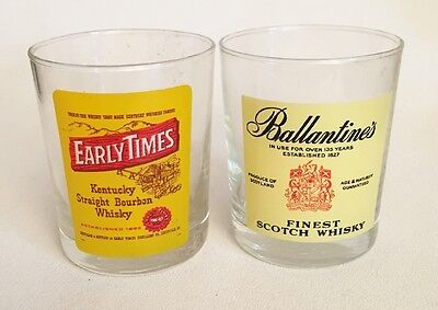 2 Rocks Cocktail Glasses Early Times & Ballantine's Advertising Promotional