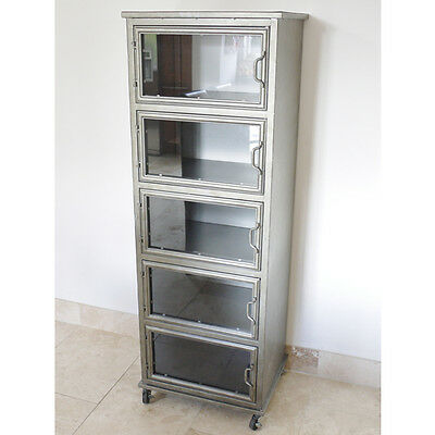 Industrial Retro Vintage Reclaimed Metal Tall Boy Chest Cabinet (D4104)
