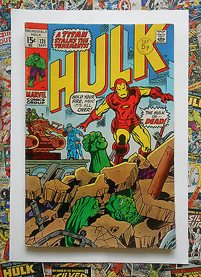 Incredible Hulk #131 - Sept 1970 - Iron Man Appearance! - Vfn- (7.5) Cents Copy