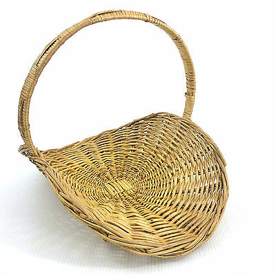 Large Wicker Basket Flat Oval Herb Flower Gathering Chic Vintage Woven Rattan