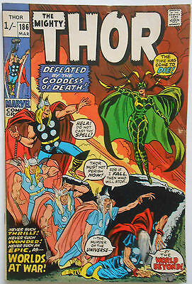 Thor #186 - Mar 1971 - Hela Appearance! - Fn (6.0) Pence Copy!