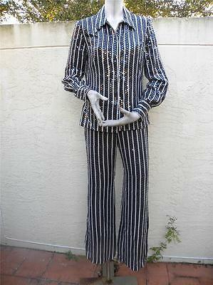 Oscar De La Renta Gorgeous 100% Silk Sequined Black White Pant Suit Sz 4