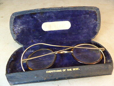 Antique faux tortoiseshell spectacles in English case