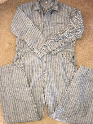 Vintage Mens Stripe Engineer Coveralls Work Denim Mechanic Sz 46T