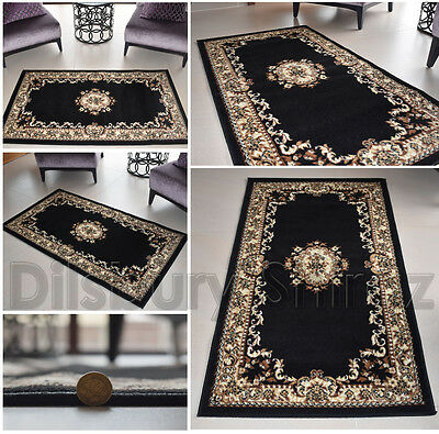 Classic New Traditional Black Cream Floral Rug Carpet Mats Free Shipping uk