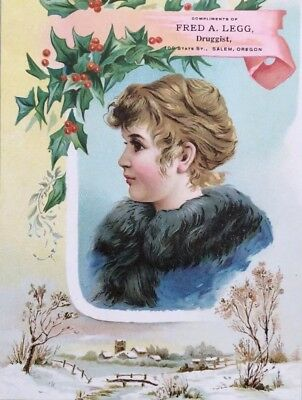 Pair Of Oversized Victorian Advertising Cards: Christmas & Kids Themed