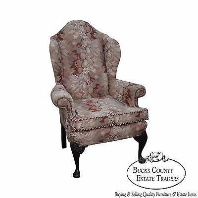 Quality Carved Queen Anne Style Mahogany Wing Chair circa 1920's
