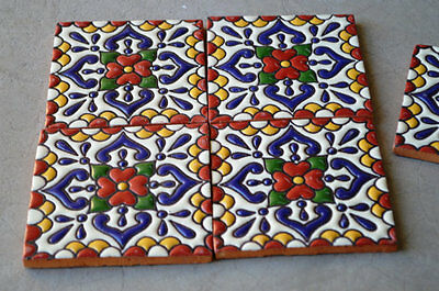 "4 Talavera Mexican tile pottery hand painted 4"" hand made"