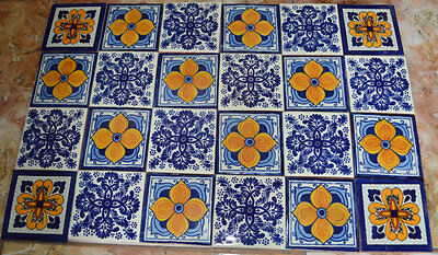 "24 Mexican tiles 4x4"" mixed Handmade and Handpainted"