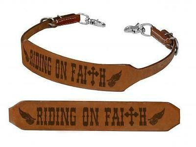 """Showman """"RIDING ON FAITH"""" Leather Branded Wither Strap! NEW HORSE TACK!"""