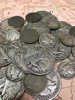 Antique Coin Collection of Walking Liberty .50c, Mercury .10c, Liberty .05c