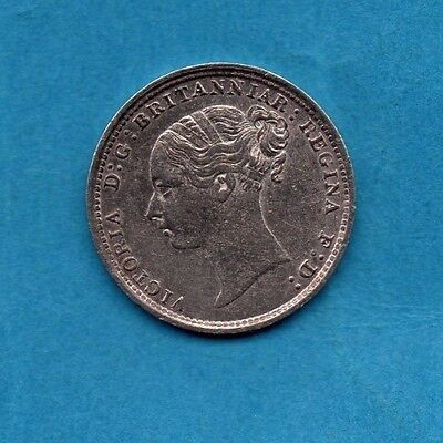 1884 SILVER THREEPENCE COIN. QUEEN VICTORIA YOUNG (BUN) HEAD 3d. (CLEANED)