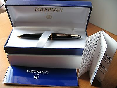 WATERMAN CARENE Ballpoint Pen - Black GT- NEW