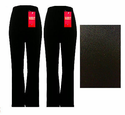 New Ladies Pack Of 2 Womens Bootleg Stretch Fine Rib Black Trouses Size 10-24
