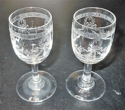 Sherry Glasses! - Lot Of 2 Etched Crystal Wine Stems