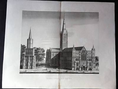 SALISBURY CATHEDRAL East View C1842 original engraving, Antique Print