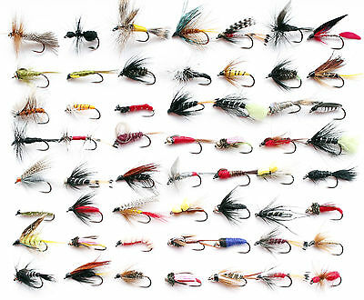 Assortment Barbless Trout Fly Fishing Flies Wet Dry Nymph Buzzers 10 25 50 100