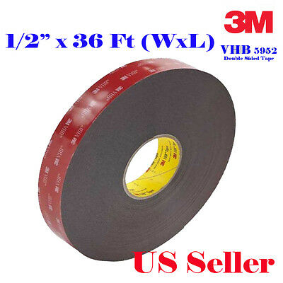"3M 1/2"" x  36 ft VHB Double Sided Foam Adhesive Tape 5952 Acrylic 0.5 Inch Mount"