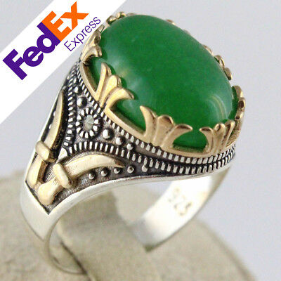 A+ Natural Jade Stone 925 Sterling Silver Turkish Handmade Men's Ring All Sizes