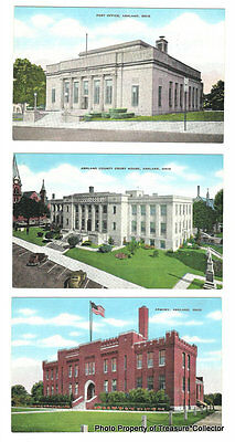 Lot of 6 Vintage Ashland OH Ohio postcards Post Office Court House Armory School