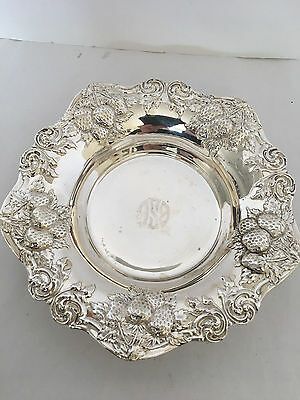 """Woodside Sterling Silver Strawberry Pattern Repousse Bowl c1900 7.5"""""""