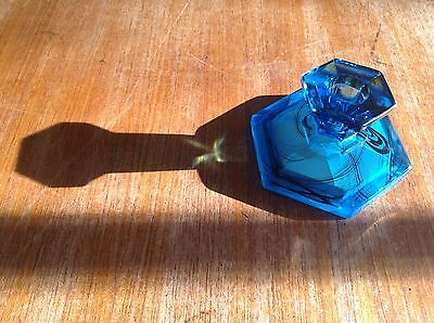 Vintage Davidson Cloud Glass Blue Art Glass Candlestick Holder