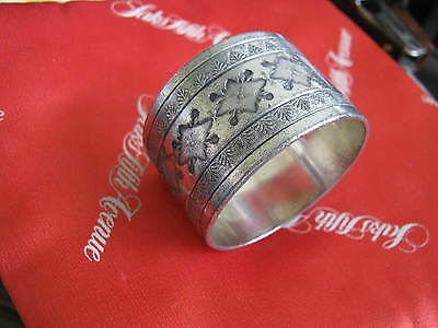"""Victorian Silver Plate BRIGHT CUT NAPKIN RING 1 1/8"""" wide, Acanthus Leaf Border"""