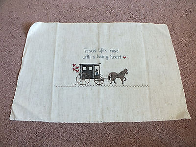 "Needlepoint Sampler ""Travel Life's Road with a Loving Heart"" Horse Wagon WOW"
