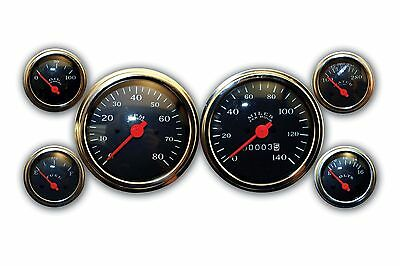 Mechanical Gauge Set Classic BLACK 6 Gauge Veethree Instruments SPEEDO AND TACH