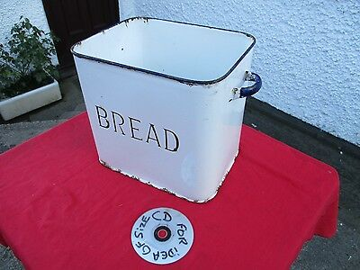 Vintage  White  &   Blue  Enamel Bread Bin.  Ideal  Planter.  Free  Delivery.