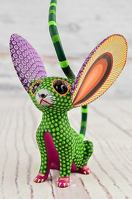 A1179 Cute Fine Mouse Alebrije Oaxacan Wood Carving Painting Handcrafted Folk Ar