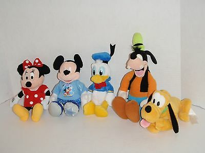 Disney 4 Parks Mickey Mouse Minnie Donald Duck Goofy Pluto 5 Bean Bag Plush