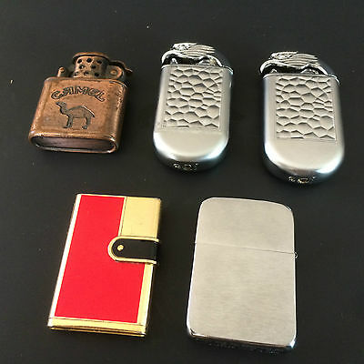 Lot of 5 Vintage Lighters - Zippo - Camel - Nesor & Two Off Brand Eagles