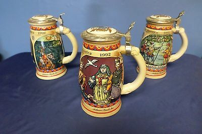 Lot of 3 Anheuser Busch Budweiser Discovery of America 1992 Steins Lot 82-0900