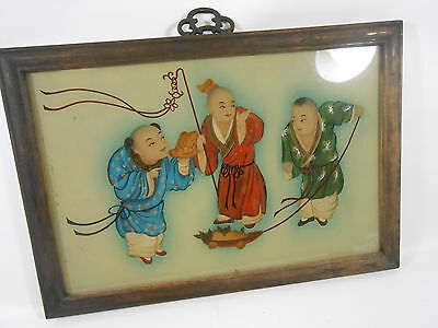 Antique Asian Japanese Chinese Reverse Painting on Glass Framed 1930'S
