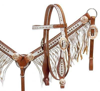 Showman Medium oil leather HS & B/C set with silver overlay and fringe! New Tack