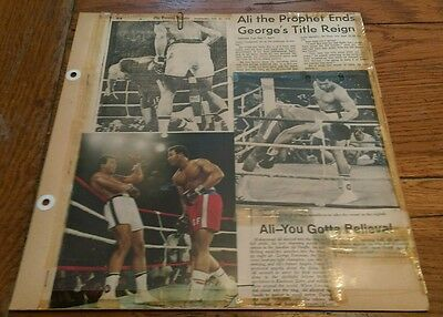Vintage 1974 Boxing Newspaper Clippings MUHAMMAD ALI  George Foreman boxer Lot