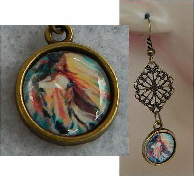 Horse Charm Drop/Dangle Earrings Handmade Jewelry Gold Multi-Color Hook NEW