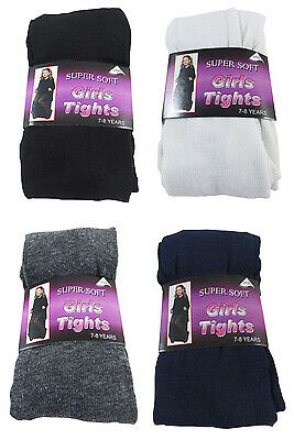 6 Pairs Childrens Super Soft Kids Cotton Rich Girls School Footed Party Tights