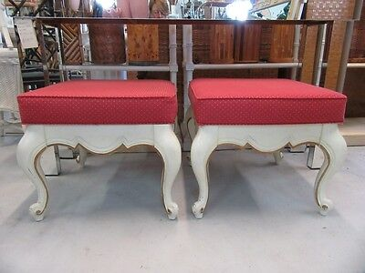 Pair of French Provencal Vintage Benches Palm Beach Regency