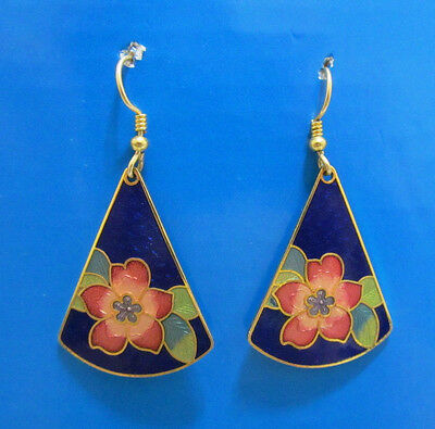 Dangle Blue Cloisonne Earrings Pink Flower Pierced Stained Glass Gold Tone Metal