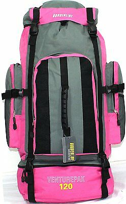 XLarge 120L Travel Hiking Rucksack Backpack Camping Festival Luggage Bag Pink XL