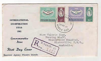 1965 PITCAIRN ISLANDS - International Co-operation Year REGISTERED FD Cover