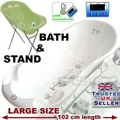 Large Baby Bath Baby Tub 102 cm with thermometer + STAND + DRAIN WHITE PEARL