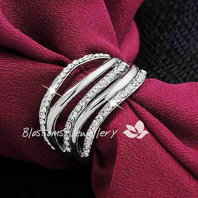 2670 18K White GOLD GF Wide Womens SILVER WRAP RING with SWAROVSKI CRYSTAL NEW