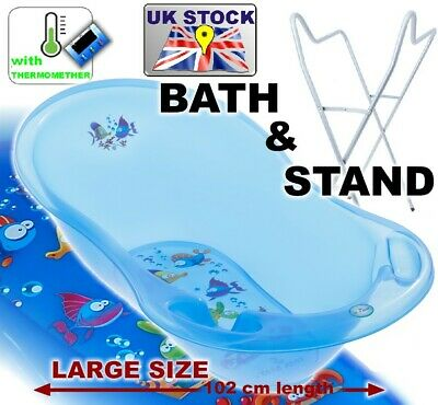 Lux Set Large Baby Bath 102 cm baby tub with thermometer + STAND  Aqua Blue