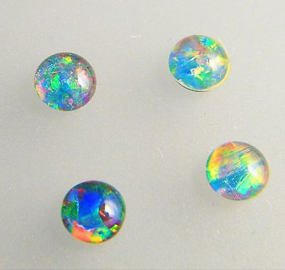 Natural Australian Opal Triplet 5mm Round Loose Stones Blue/Green/Red 4 Pack