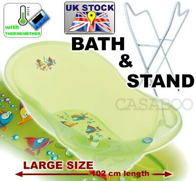 Lux Set Large Baby Bath 102 cm baby tub with thermometer + STAND  Aqua Green