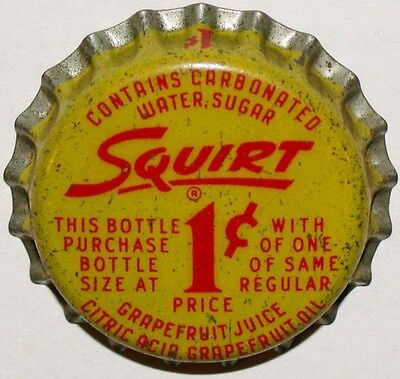 Vintage soda pop bottle cap SQUIRT with large 1 cent cork lined new old stock